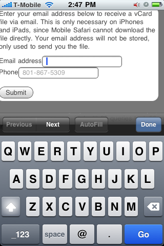 HTML5 email form input rendered on an iPhone