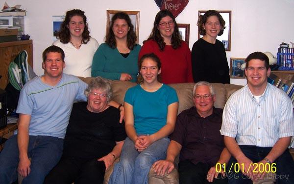A family portrait of Bill and Judy Shefchik with their seven children, January 2006