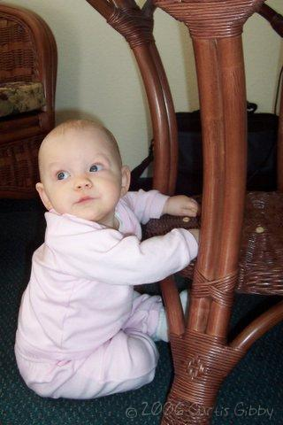 Mesquite Nevada Trip - Audrey eats Cheerios under the table