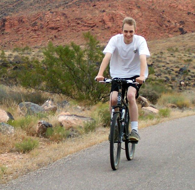 Curtis rides a bike on our vacation in St. George, Utah