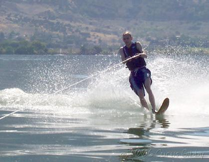 Curtis skiing on Willard Bay in Utah, August 2006