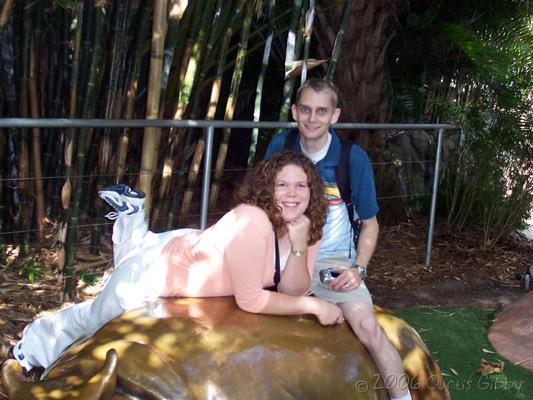 Cruise - Curtis and Sarah sit on a hippo statue at the San Diego Zoo