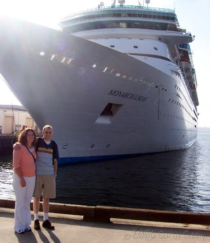 Cruise - Sarah and Curtis in front of our ship, the <i>Monarch of the Seas</i>