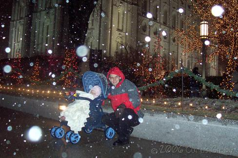 Curtis and Audrey enjoy a snowy night at Temple Square in Salt Lake City