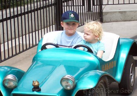 Lagoon - August 2007 - Audrey and Quinn ride the little cars