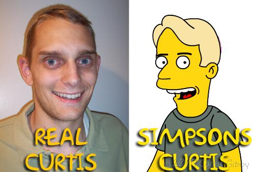 A portrait of Curtis and a Simpsonized version