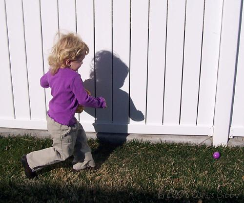 Easter Egg Hunt - Audrey runs to find eggs
