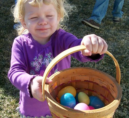 Easter Egg Hunt - Proud Audrey with her basket