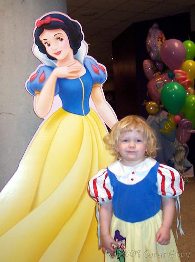 Audrey with a cardboard Snow White at Disney on Ice
