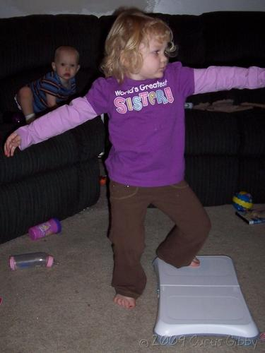 Audrey does yoga with the Wii Fit (2)