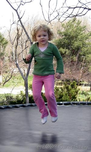 Audrey on the trampoline (3 and 1/2 years old)