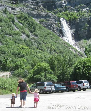 Sarah and the kids at Bridal Veil Falls