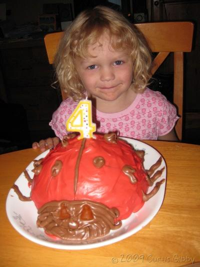 4-year-old Audrey with her ladybug birthday cake