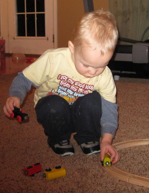 Nathan's 2nd Birthday -- playing with his toy train