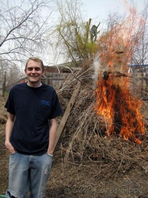 Me with the brush fire in our back yard