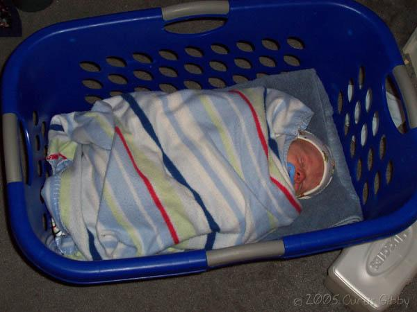 My nephew Andrew, sleeping in the laundry basket