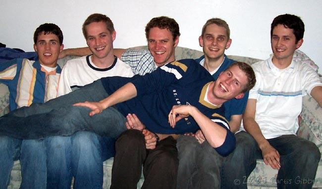 My roommates at a party we had in January of 2005 - Clinton, Eric Christensen, Kevin, Curtis, Scott, and Eric Jensen