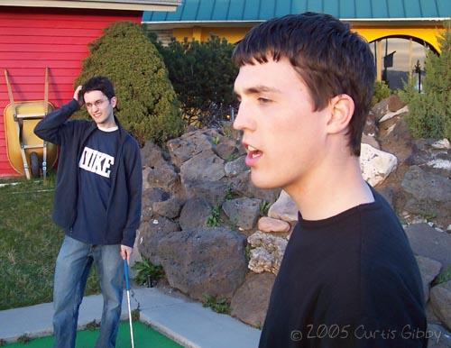 Miniature Golf with my roommates - Scott and Clinton looking puzzled