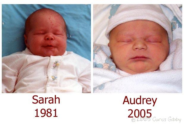 A side-by-side comparison of Sarah and Audrey's baby pictures