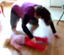 View - Sarah spins Audrey on our faux-wood floor (video)