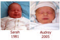 View - A side-by-side comparison of Sarah and Audrey's baby pictures