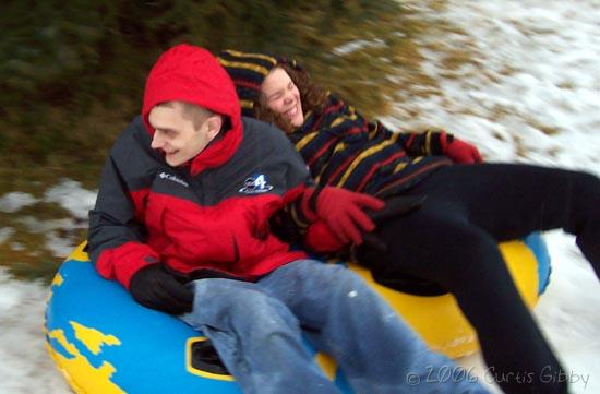 Sarah and me tubing - we almost ran into a tree