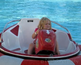 Audrey on the bumper boat at her birthday party