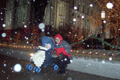 Picture -  Curtis and Audrey enjoy a snowy  night at Temple Square in Salt Lake  City